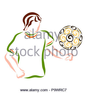 Young athlete playing with a ball, sports - Stock Photo