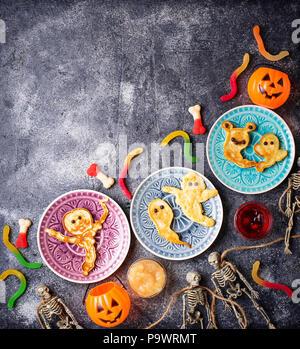 Halloween creative treat ghost pancakes - Stock Photo