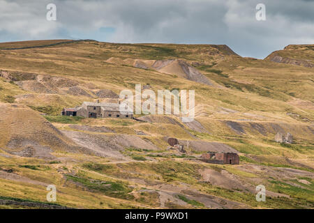 The remains of the closed Coldberry lead mine, near Middleton-in-Teesdale, North Pennines AONB, UK - Stock Photo