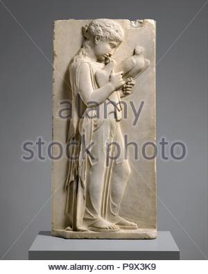 Marble grave stele of a little girl, Classical, ca. 450–440 B.C., Greek, Marble, Parian, Height: 31 3/4 in. (80.6 cm), Stone Sculpture, The gentle gravity of this child is beautifully expressed through her sweet farewell to her pet doves. Her peplos is unbelted and falls open at the side, while the folds of drapery clearly reveal her stance. - Stock Photo