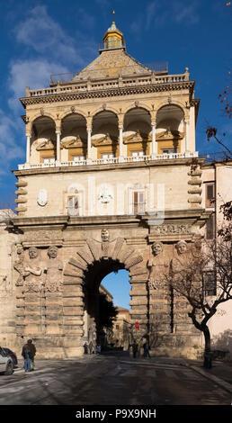 Porta Nuova, a city gate of Palermo, Sicily, Italy, Europe - Stock Photo