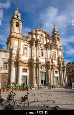 San Domenico on Piazza San Domenico, Palermo, Sicily, Italy, Europe - Stock Photo