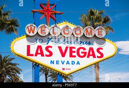 Las Vegas sign, Las Vegas, Nevada, USA - Stock Photo
