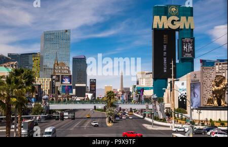 The Las Vegas Strip skyline, Las Vegas, Nevada, USA with traffic on the strip road - Stock Photo