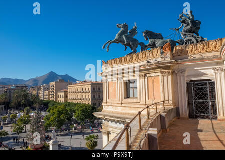 The view from the Politeama Theatre, Palermo, Sicily, showing central Piazza Politeama and the bronze Quadriga on the Teatro Politeama - Stock Photo