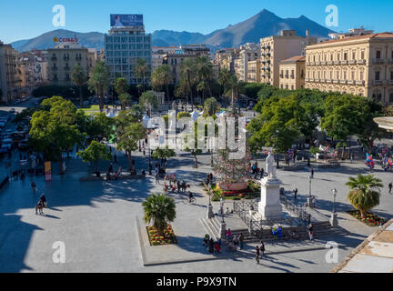 Palermo, Sicily, Italy, Piazza Politeama square with people in the city centre - Stock Photo