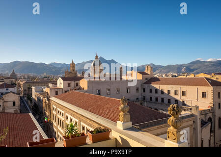 Palermo skyline, Sicily, Italy, Europe with the mountains behind - Stock Photo