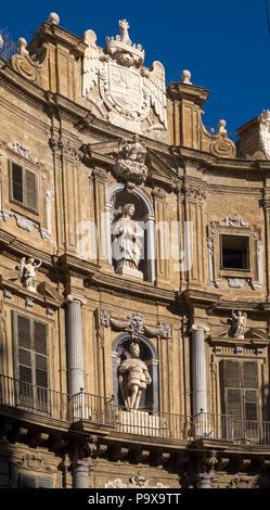 Quattro Canti, Piazza Vigliena, Four Corners, North view of Castellamare, Palermo, Sicily, Italy, Europe - Stock Photo