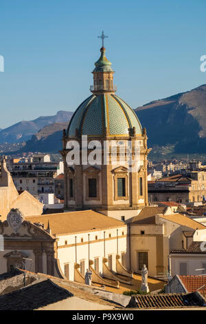 City Skyline of Palermo, Sicily, Italy, Europe, showing the dome of Palermo cathedral - Stock Photo