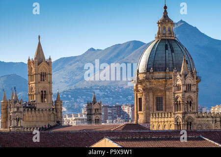 Sicily, Italy - Skyline of Palermo, Sicily, Europe, showing the dome of Palermo cathedral and architecture - Stock Photo