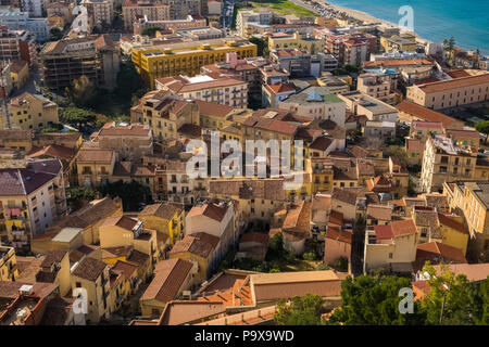 Aerial view of the architecture of the dense packed city of Cefalu, Sicily, Italy, Europe - Stock Photo
