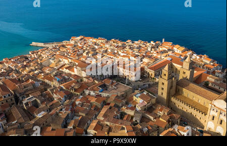 Sicily, Italy, Europe - aerial view of the historic Cefalu Cathedral and red rooftops, Cefalu, Sicily - Stock Photo