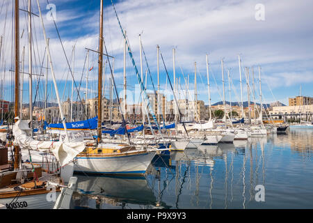 Boats and yachts at Palermo Harbour in Sicily, Italy, Europe - Stock Photo