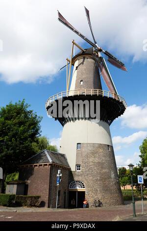 De Drie Koornbloemen windmill in Schiedam, the Netherlands. The mill dates from 1770. - Stock Photo