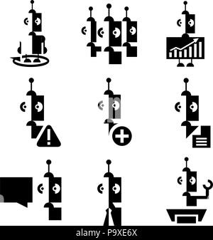 Human resources and management icons set with robots. - Stock Photo