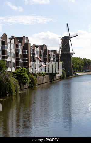 The Walvisch windmill in Schiedam, the Netherlands. The Walvissch is a windmill that dates from 1794. - Stock Photo