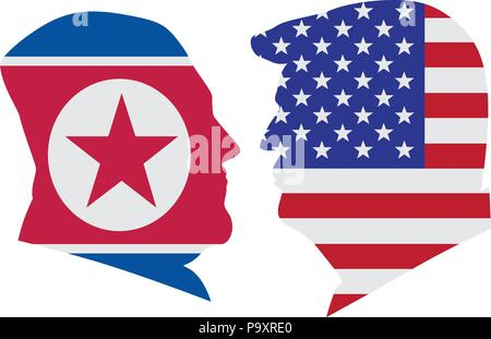 MAY 14, 2018: US President Donald Trump and Kim Jong Un silhouettes with United States America  and North Korea Flags Illustration. Upcoming Summit Ju - Stock Photo