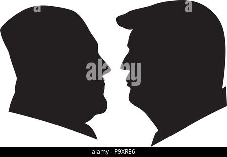 MAY 14, 2018: US President Donald Trump and Kim Jong Un black and white silhouettes Illustration.   Upcoming Summit June 2018 between USA and North Ko - Stock Photo
