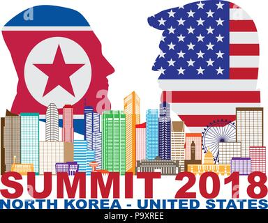 MAY 14, 2018: President Donald Trump and Kim Jong Un silhouettes with USA and North Korea Flags Summit 2018 Singapore city skyline Illustration.  Upco - Stock Photo