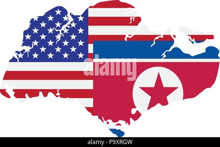 North Korea and United States of America  Flags in Singapore Map Outline Color Illustration - Stock Photo
