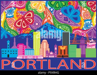 Portland Oregon Outline Silhouette with City Skyline with Mount Hood Colorful Paisley Pattern Background Illustration - Stock Photo