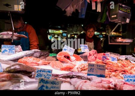 Fresh fish at La Boqueria Market in Barcelona, Spain - Stock Photo