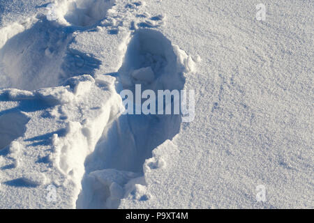 several traces of a man on a deep sparkling snowdrift, a close-up of a part of the hill on which upwards, a frosty day - Stock Photo