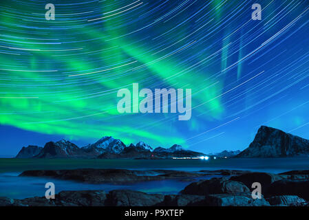 Northern Lights in Norway - Stock Photo