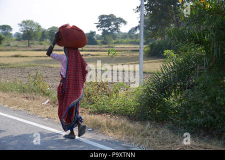 Indian local woman and wife of farmer, walking home after trading at a local market stall carrying her produce on her head. - Stock Photo