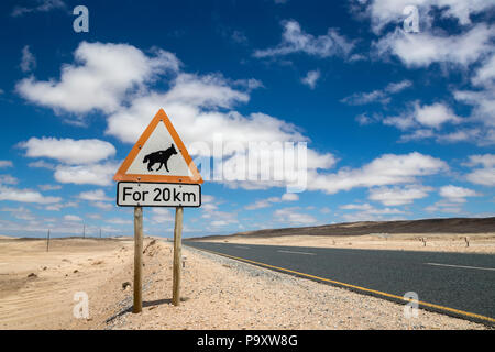 Road sign warning of brown hyaena, road to Luderitz, Namibia, February 2017 - Stock Photo