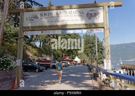 Entrance to the marina and shops on the pier on Bowen Island near Vancouver, British Columbia, Canada - Stock Photo