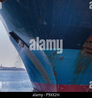 Ship's anchor being washed in shipyard.Stock Image - Stock Photo