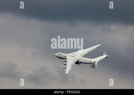 The Antonov An-225 'Mriya' (The Dream) the worl-diggest super heavy cargo aircraft takes part in the Aviasvit-2010 airshow at Kiev-Gostomel airfield,  - Stock Photo