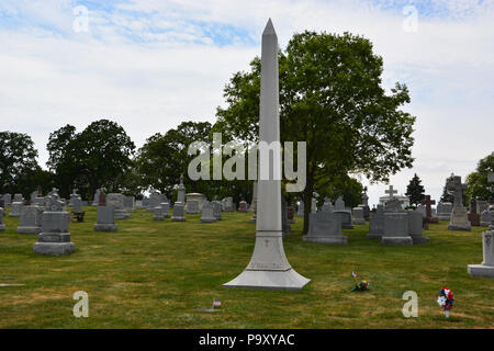 The O'Banion family marker at the Mount Carmel Cemetery in suburban Hillside, where Dean (Dion) O'Banion and members of his family are buried. - Stock Photo