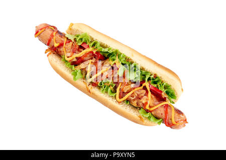 Hot dog with long sausage and vegetables on white - Stock Photo
