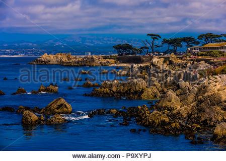 Coastline along Monterey Bay off Pacific Grove, California. - Stock Photo