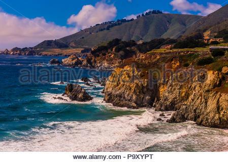 Big Sur coast between Carmel Highlands and Big Sur, Monterey County, California USA. - Stock Photo