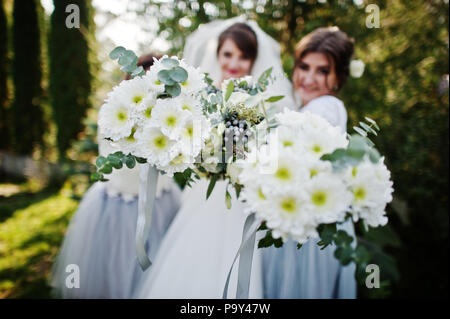 Close-up photo of bride's and bridesmaids' bouquets. - Stock Photo