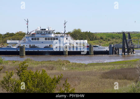 FORT FISHER , NORTH CAROLINA, USA - APRIL 20, 2018: The Southport - Fort Fisher Ferry boat, a year-round vehicle and passenger ferry that runs between - Stock Photo