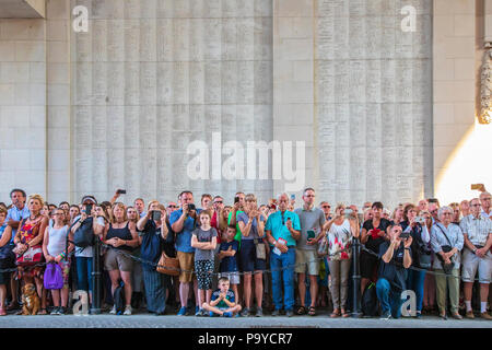 Members of the public in attendance at the nightly memorial service of remembrance at the Menin Gate, Ypres, Belgium - Stock Photo