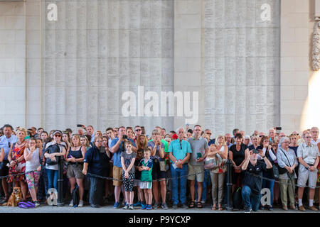 Members off the public in attendance at the nightly memorial service of remembrance at the Menin Gate, Ypres, Belgium - Stock Photo