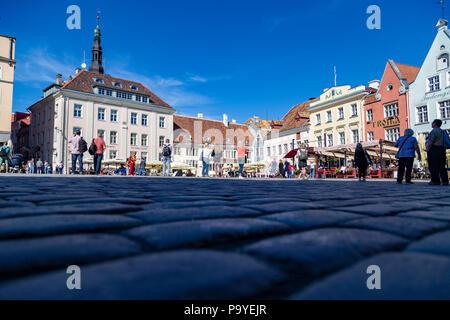 Twon Hall square in Tallin, Estonia - Stock Photo