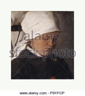 Peasant Girl with a White Headcloth, 1885, Oil on canvas, 9 7/8 x 9 1/8 in. (25.1 x 23.2 cm), Paintings, Wilhelm Leibl (German, Cologne 1844–1900 Würzburg). - Stock Photo