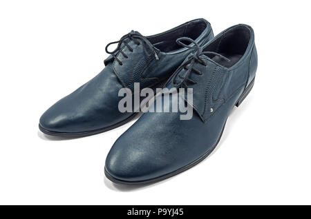 Fashionable men's shoes blue color, classic design on a white background isolated - Stock Photo