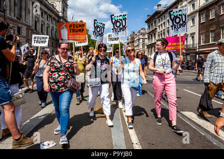 Anti Trump Protestors March Down Whitehall In Protest At The Visit To The UK of US President Donald Trump, London, England - Stock Photo