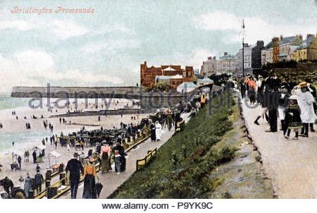 Bridlington Promenade , vintage postcard 1910 - Stock Photo
