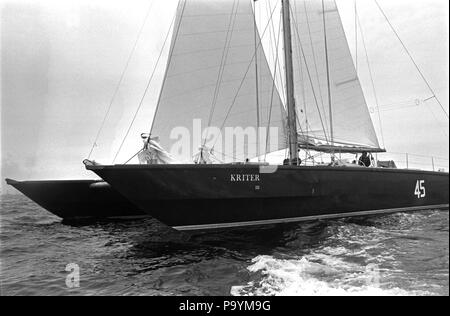 AJAXNETPHOTO. 6TH JUNE, 1976. PLYMOUTH, ENGLAND. - OSTAR 1976 - KRITER III (EX BRITISH OXYGEN) SKIPPERED BY JEAN YVES TERLAIN BROKE UP AND SANK. PHOTO:JONATHAN EASTLAND/AJAX REF: 2760506_5A - Stock Photo