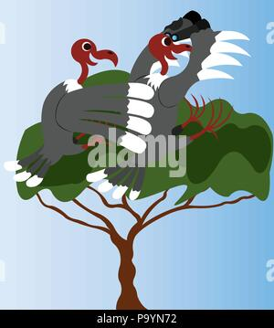 A pair of Vultures Watching out for intruders - Stock Photo