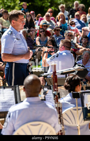Trumpet player; United States Air Force Brass Band plays a Fourth of July Concert in the Riverside Park band stand, Salida, Colorado, USA - Stock Photo