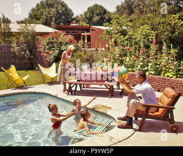 1950s 1960s FAMILY AROUND BACKYARD SWIMMING POOL MOTHER AT PICNIC TABLE FATHER PLAYING BALL WITH KIDS IN POOL  - ks1180 HAR001 HARS MOM NOSTALGIC AROUND PAIR SUBURBAN BACKYARD COLOR MOTHERS OLD TIME NOSTALGIA BROTHER OLD FASHION SISTER 1 JUVENILE PEACE SONS FAMILIES JOY LIFESTYLE SATISFACTION FIVE FEMALES MARRIED 5 BROTHERS SPOUSE HUSBANDS HOME LIFE UNITED STATES FULL-LENGTH DAUGHTERS UNITED STATES OF AMERICA MALES SIBLINGS SISTERS FATHERS FREEDOM DREAMS HAPPINESS SWIMMING POOL DADS EXCITEMENT RECREATION IN SIBLING STYLISH HOLLYHOCKS JUVENILES MID-ADULT MID-ADULT MAN MID-ADULT WOMAN MOMS - Stock Photo
